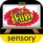 Rounded square with a large easel in the middle against a black background. The easel has a paint splash and the word Fun inside it. The lowercase word sensory is at the bottom in a yellow band.