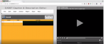 Screenshot of double-pane software window, with a video playing on the right-hand-side and a caption editing window on the left.