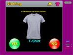 Screenshot showing image of T-shirt and a button on the bottom left and right with yes and no options.