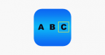 Rounded blue square with the capital letters A, B, and C written across the middle in black and the C has a square outline around it.