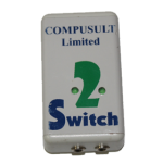 Vertical view of small white rectangular device with 2 Switch written on the top in the middle of two indicator lights and two ports on the end.