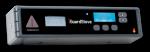 Rectangular black electronic panel with an LCD display and various menu buttons.