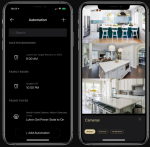 Two screenshots of an iPhone, the left one is titled Automation and has a listing of 3 zones in the house: Master Bedroom, where a timer shows everything is off; Family Room, everything off; and Front Foyer, where the Motion Detector is on. On the right are views from 3 cameras of the kitchen.