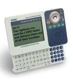A rectangular, blue-and-white device with an LCD display screen on the left-hand side. On the right, there is a speaker and various menu buttons. Along the bottom edge of the device, there is a slide-out QWERTY keyboard witha number pad.
