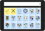 Screenshot of software on a tablet showing a 3x6 grid of colorful communication images.