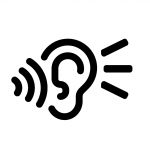 Black and white drawing of an ear with sound waves coming in and sound lines on the right side of the ear.