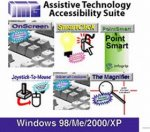 """A grid of six different images representing the programs included in the suite. The first features an image of a keyboard and reads """"OnScreen."""" The second has an illustration of a mouse pointer next to a lightbulb and reads """"SmartClick."""" The third features a green background and reads """"PointSmart."""" The fourth shows a mouse and joystick illustration and says """"Joystick to Mosue."""" The fifth features another keyboard image, and the sixth image reads """"The Magnifier"""" and has a magnifying glass illustration."""