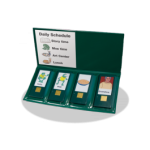 A green binder or folder that unfolds to reveal four different picture icons with buttons beneath to play audio messages.