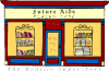 Drawing of bookstore storefront with red walls, a blue door frame, and large orange windows containing bookshelves built with books on them.