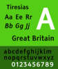 Green vertical horizontal image with examples of the Tiresias font letters and numbers.