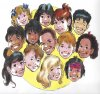 Collage of a drawing of many children's faces arranged in a large circle against a yellow background.