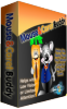 Angled view of software box showing cover with a colorful drawing of a smiling mouse in a blue jacket with one arm around a smiling carrot.