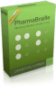 "A bright green software box with the words ""PharmaBraille"" at the top in black font and white circle graphics meant to represent Braille dots below."