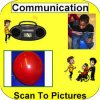 Rounded yellow square with Communication written across the top, four images of communication in the middle, and app name along the bottom.
