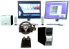 Various product components, including two monitors, two computer towers, a foot pedal, and a steering wheel.