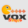 Gray square with orange Pacman-like face with a sound wave coming out of its mouth on top of the word vox and games written below it.