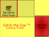 "Large yellow square with a drawing of a cow in the upper left square, the app name on the bottom left, and a large red button on the lower right with ""Tap here to Scan"" written in it."