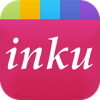 Rounded square image of the lowercase word inku written in white against a pink background in the center, and different colored small squares across the top.