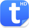 Rounded blue square with a white lowercase letter t in the center and a white superscript HD in the upper right.