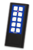 A black rectangular handheld remote control with a blue panel with two columns of five white control buttons on top of a speaker.