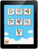 Vertical image of an iPad screen with a cartoon sky background and two rows of three squares image containing words and pictures and a third row of one square image.