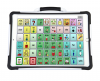Word selection screen on a white tablet with a handle displaying a 6x10 communications grid.