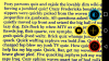 A screenshop of blue text on a yellow background with menu options to the right.