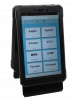 An encased tablet device with a screen featuring language options.