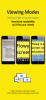 Flowy viewing modes on three different mobile phones, the first with smaller black text on a gray background, the second with a yellow background, the next with black text magnified to show two words, and the last with a yellow background and black text magnified to who 3 lines of text.