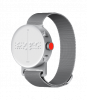 A silver watch and band with braille on the face and push buttons on the right.