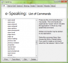 Window with a list of e-speaking commands.