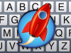 "Square picture of partial keyboard overlaid with a red rocket in the center enclosed in a blue ""speech bubble."""