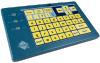 IntelliKeys USB keyboard with aphabet overlay inserted.