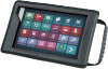 Tablet enclosed in protective case with grid of icons and handle on right side.