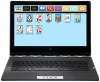 Opened dark grey laptop with AllTalk's icon phrase selection menu on screen.