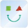 CommunicoTool 2 logo. It features an illustration of a smiley face. The left eye is a green square. The right eye is a red triangle. The smiley face is drawn in the style of a children's crayon drawing.