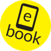 "A graphics logo with the word ""e book"" in black font and a simple, black illustration of an e-reader. The letter ""e"" is written over the screen of the e-reader illustration. There is a bright yellow circle in the background of the graphic."
