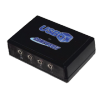 Angled view of small rectangular black device with USBox written on the top and four ports along the front.