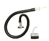 Long black curved arm with white plastic mouthpiece at one end and connector at the other end. Small rectangular device on right.