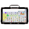 A tablet device displaying a large grid of icons and a text input bar at the top.