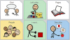 A 3x2 grid of simple stick figure images and vocabulary words and phrases.