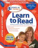 """Red box with """"Learn to Read"""" printed prominently in blue font. Below the title is an image of a mother and daughter reading a book."""