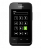 A black cellphone which displays the numeric dial pad on the touch screen and number 9 is highlighted in green.
