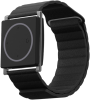 A black wristband with a square watchface featuring a large circle on the screen.